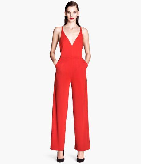 h m jumpsuit in red lyst. Black Bedroom Furniture Sets. Home Design Ideas