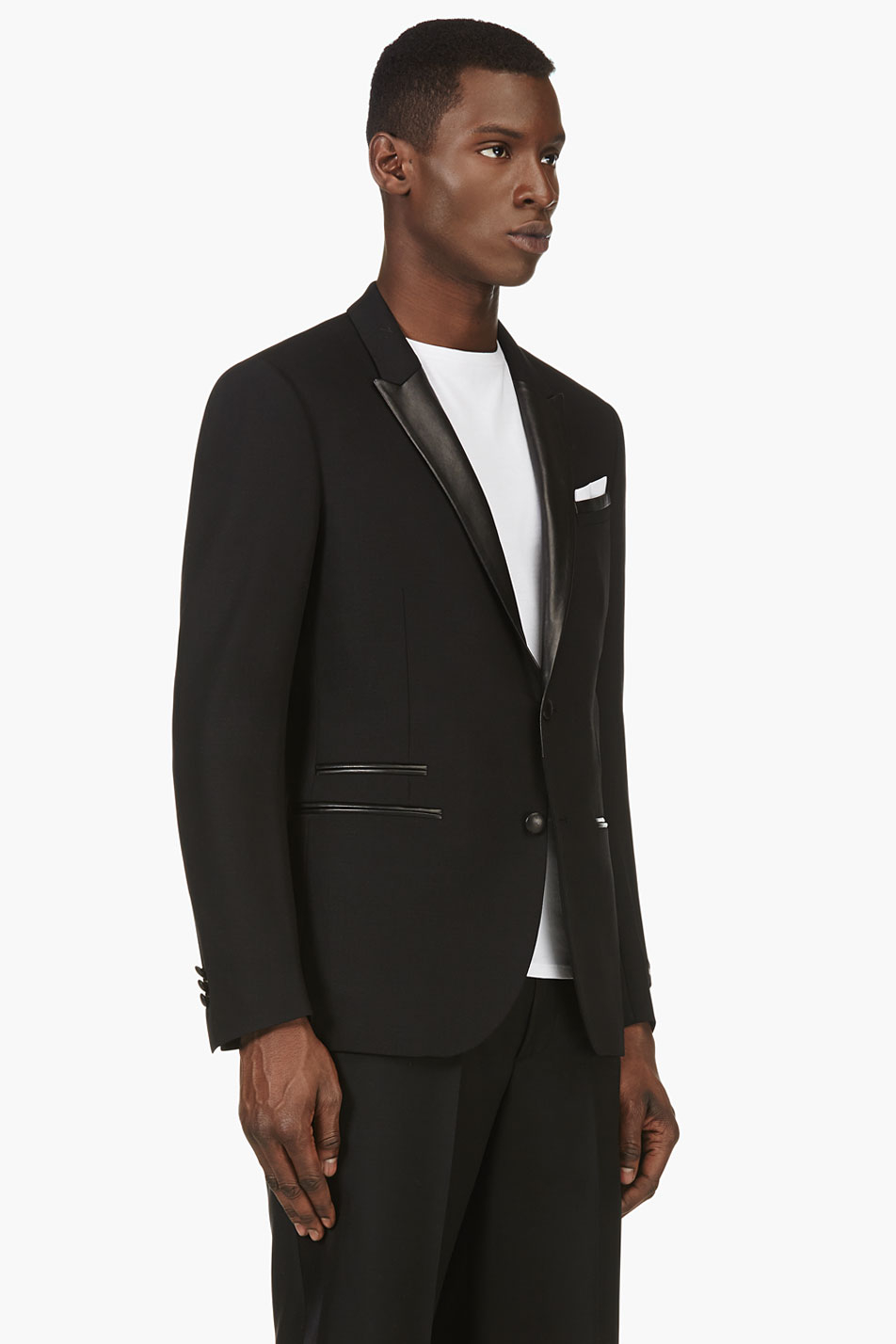 Neil barrett Black Leather Trim Wool Blazer in Black for Men | Lyst