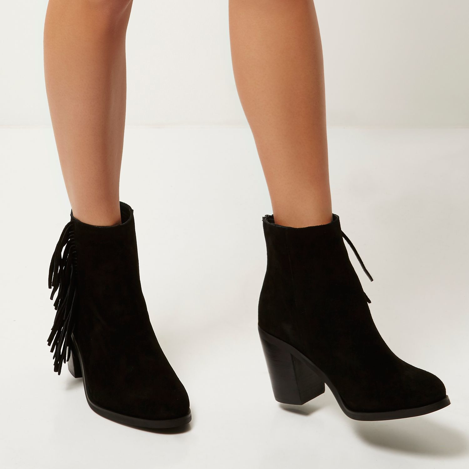 River island Black Suede Fringed Ankle Boots in Black | Lyst