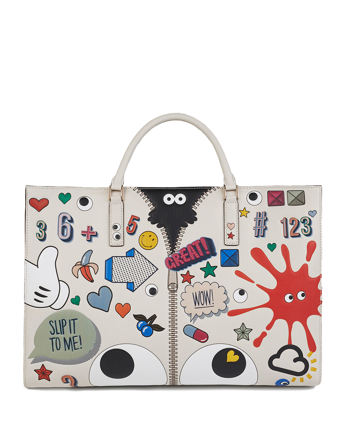 Anya hindmarch Ebury Sticker print Leather Tote Bag Save