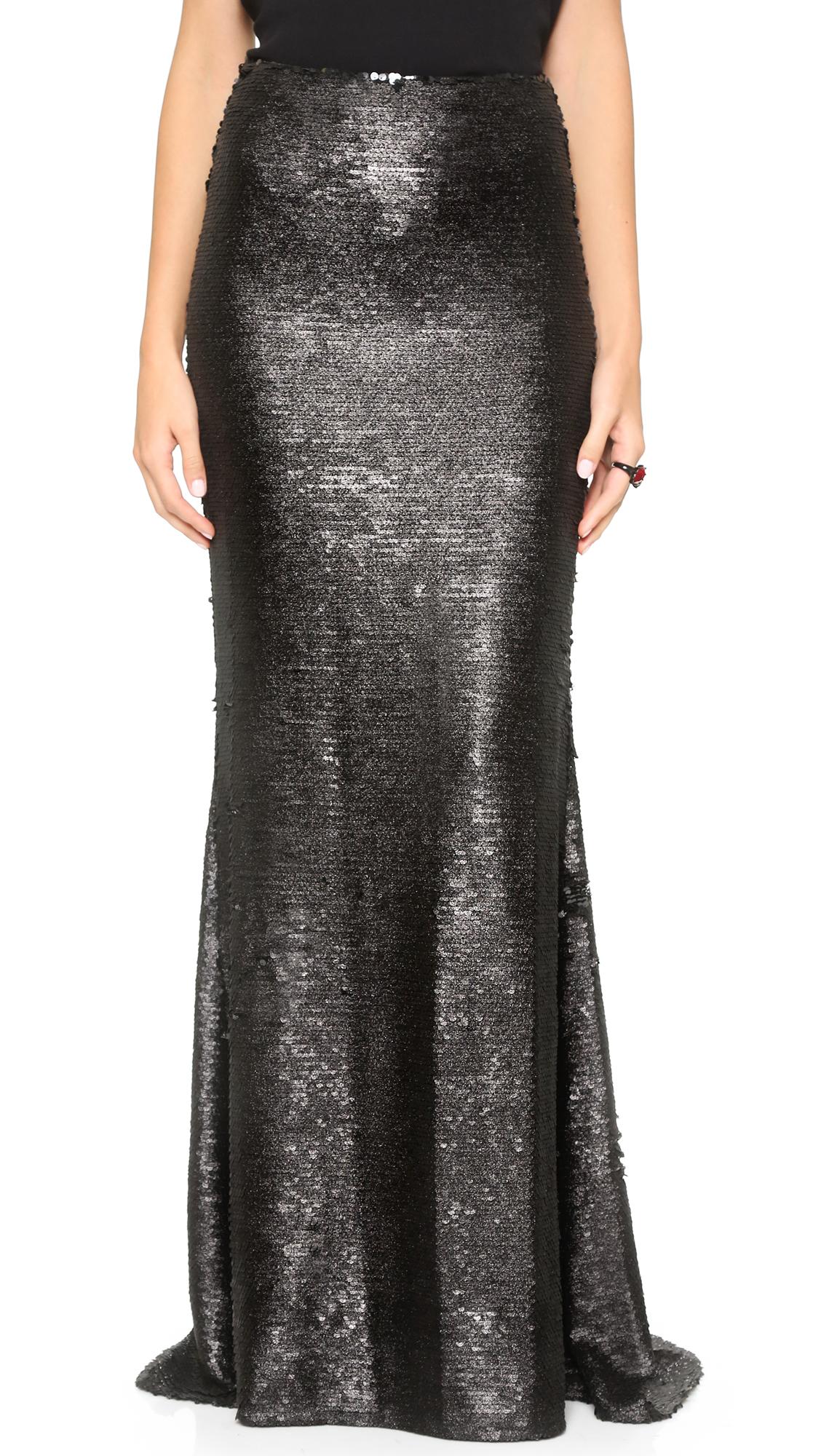 Badgley mischka Sparkle Sequin Skirt - Black in Black | Lyst