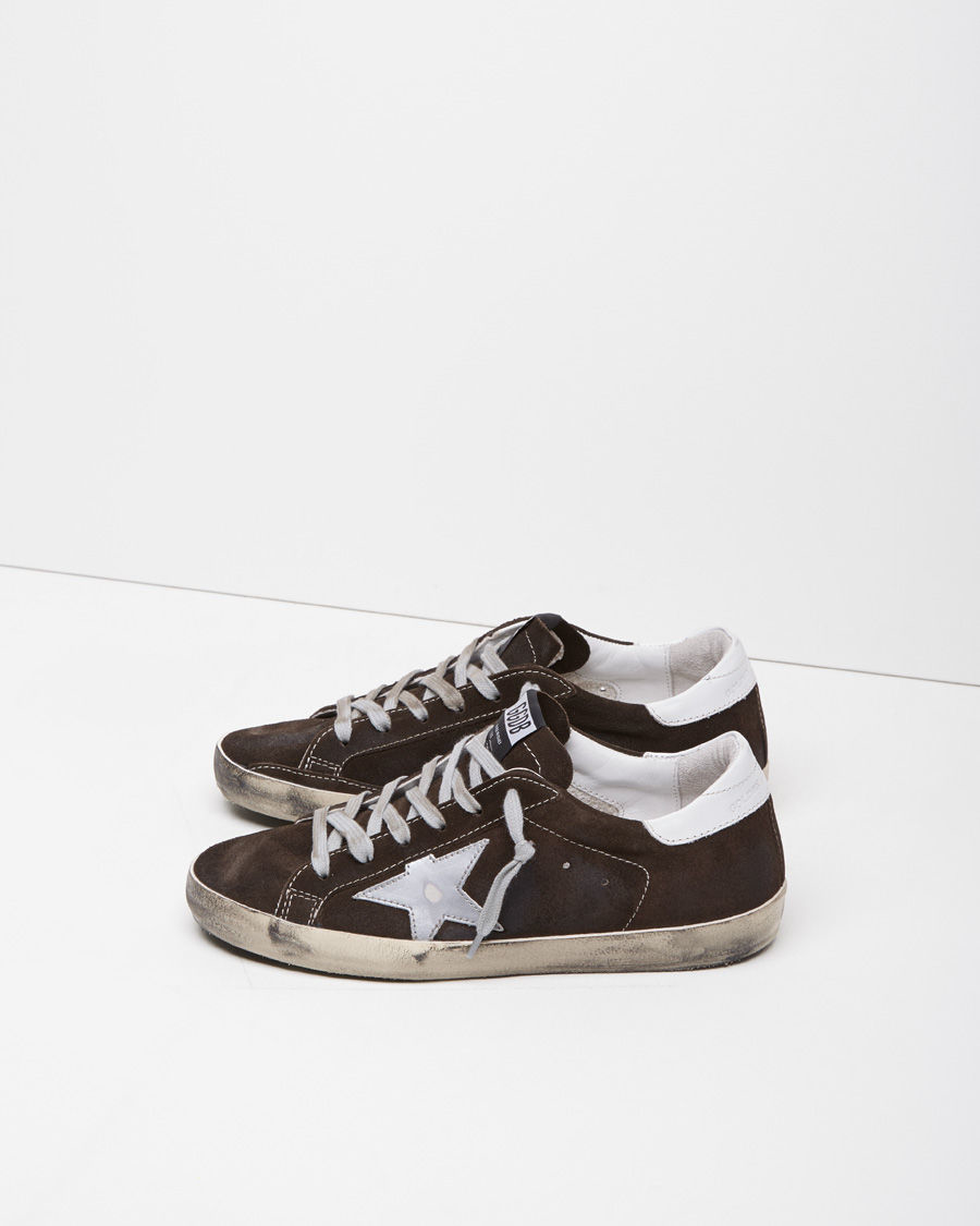 golden goose deluxe brand superstar suede low top sneakers in brown lyst. Black Bedroom Furniture Sets. Home Design Ideas
