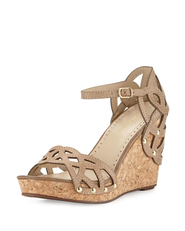 b0cace7ea93 Lyst - Adrienne Vittadini Chavi Laser-cut Wedge Sandal