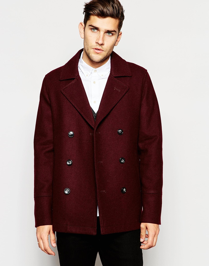 Asos Wool Peacoat In Burgundy in Purple for Men | Lyst
