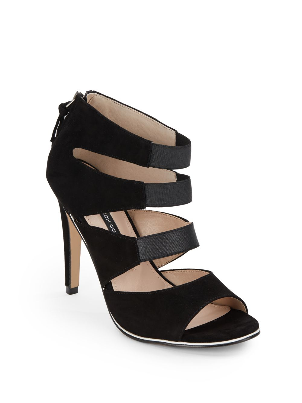 fcb00a292f8 Lyst - French Connection Suede   Elastic Strappy Sandals in Black