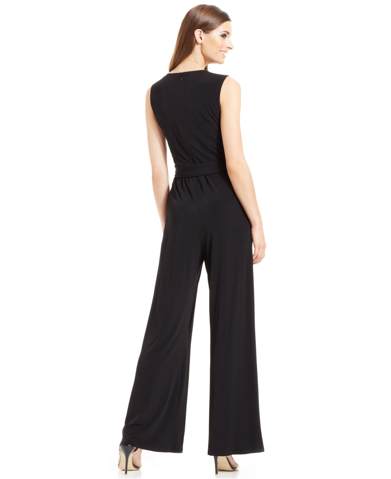 a4ab530f4371 Lyst - Vince Camuto Wide-Leg Belted Sleeveless Jumpsuit in Black
