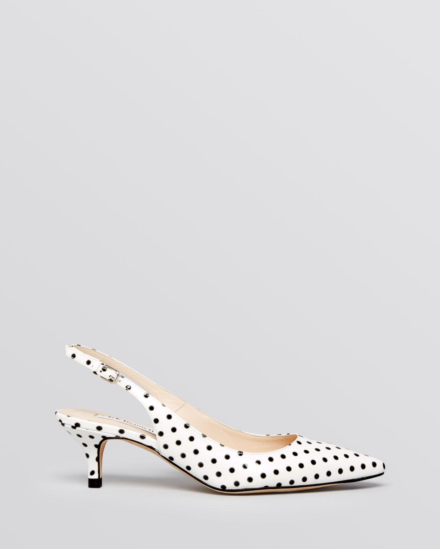 White Slingback Kitten Heel Shoes