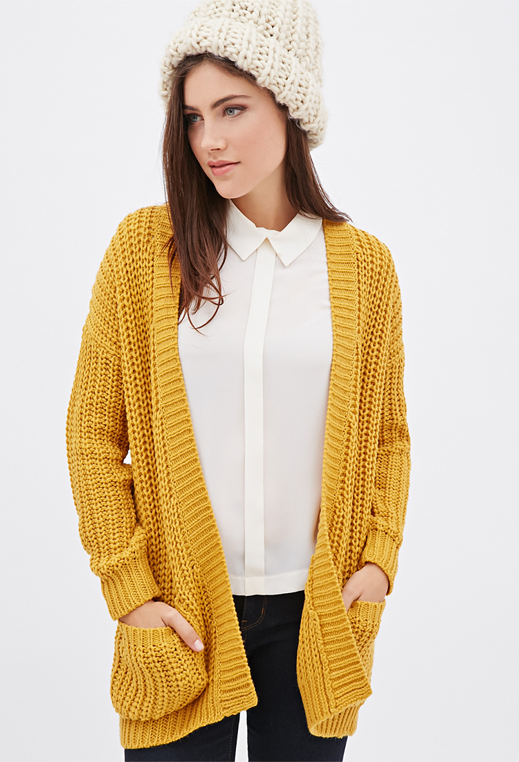 Forever 21 Purl Knit Cardigan in Yellow | Lyst