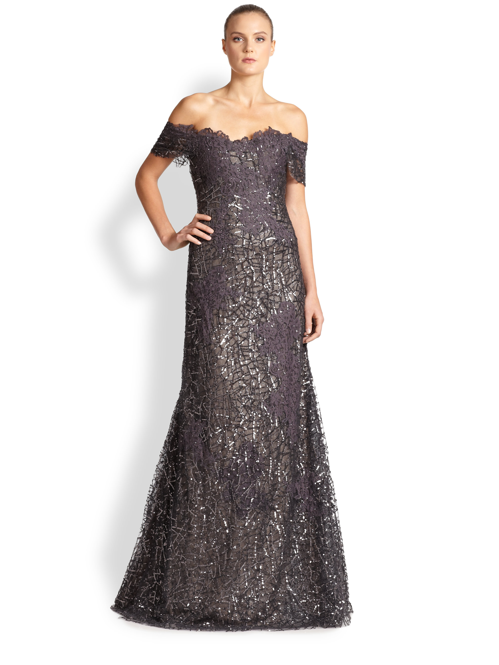Rene ruiz Sequined Lace Off-the-shoulder Gown in Metallic ... - photo#45