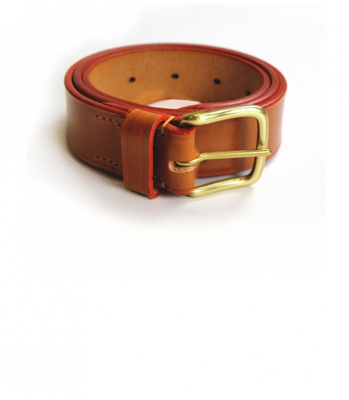 s bridle leather belt with brass buckle in brown