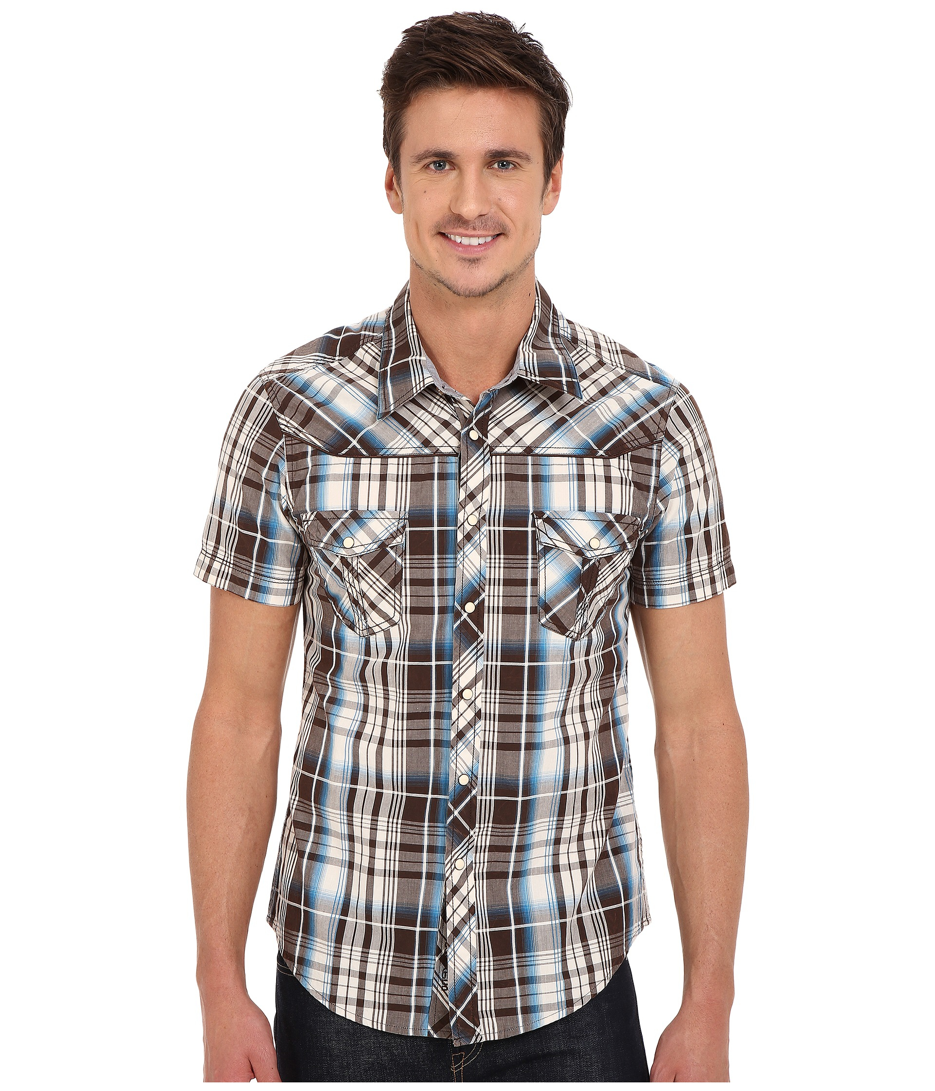 Rock And Roll Cowboy Short Sleeve Snap B1s6263 In Brown