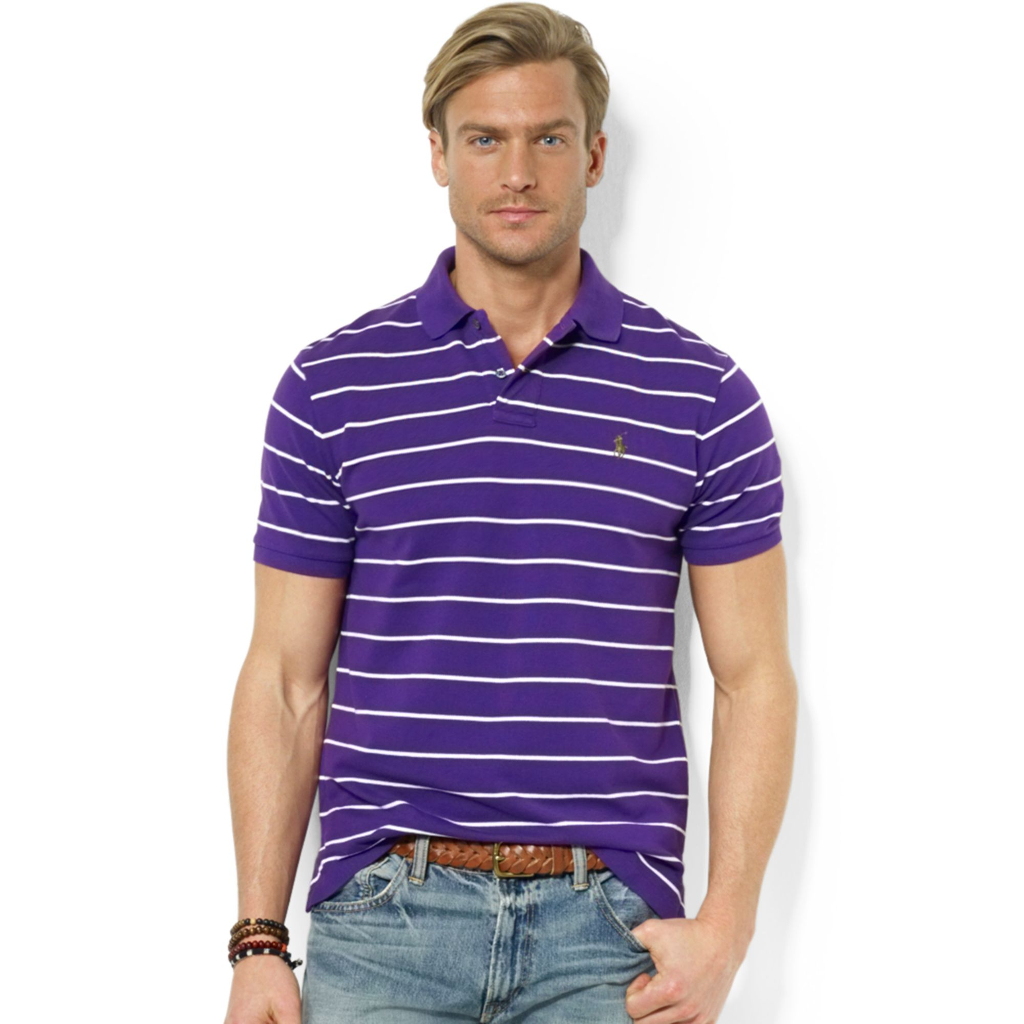 Lyst ralph lauren polo customfit striped stretchmesh for Man in polo shirt