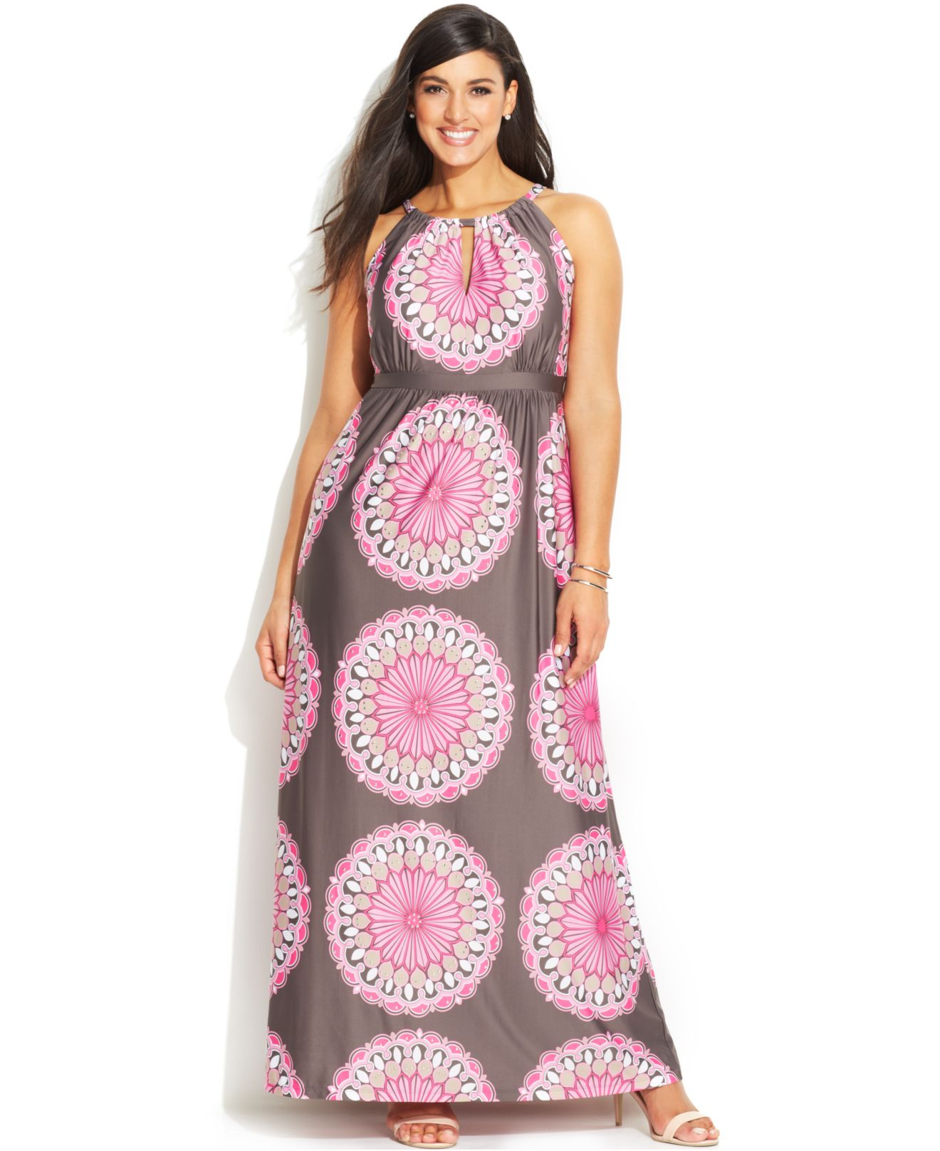 b0207f2bb402e Lyst - INC International Concepts Plus Size Printed Keyhole Maxi Dress