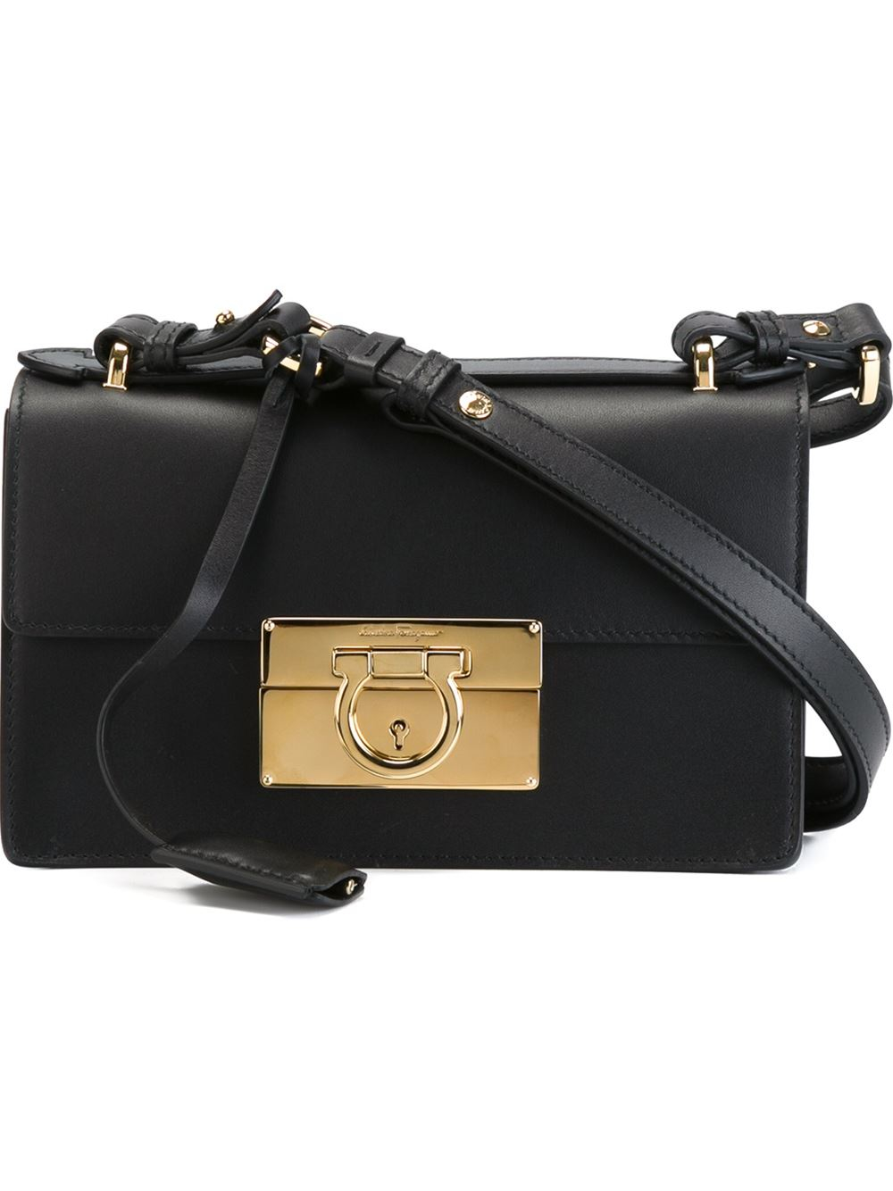 Lyst - Ferragamo Aileen Shoulder Bag in Black 4fa860da4ddd4