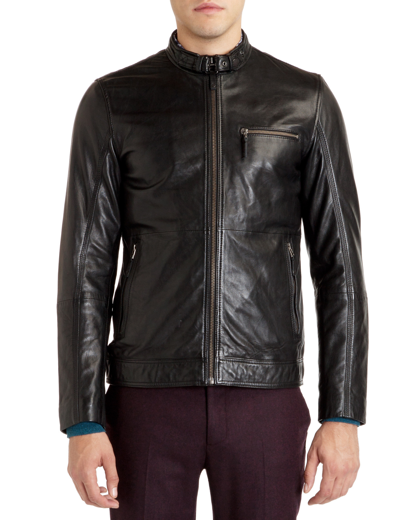 f21d80b5774778 Lyst - Ted Baker Leather Jacket in Black for Men
