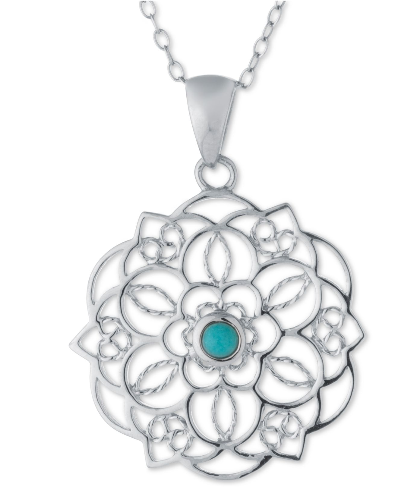 Lyst macys manufactured turquoise filigree pendant necklace in gallery mozeypictures Images