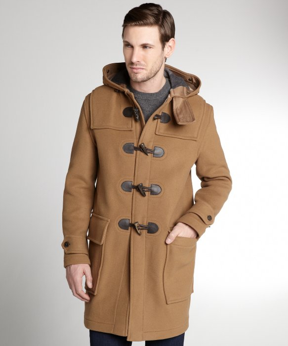 Lyst Burberry Camel Wool Toggle Three Quarter Coat In