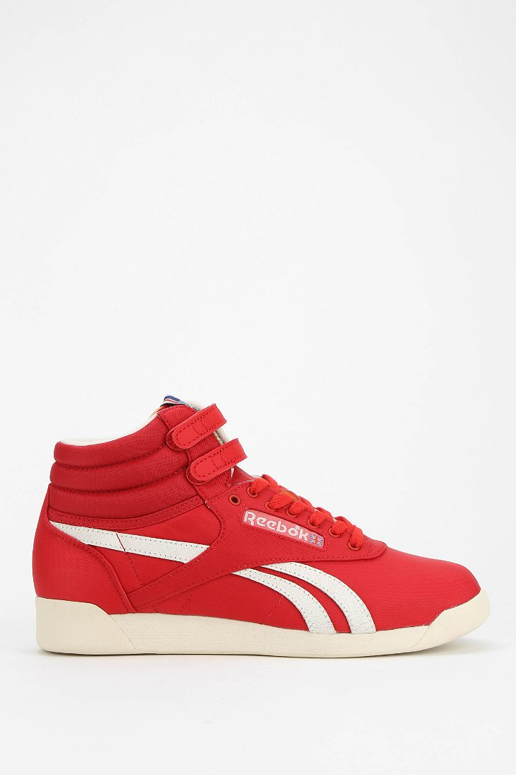77f5802235b4a Lyst - Reebok Freestyle Vintage High-Top Sneaker in Red