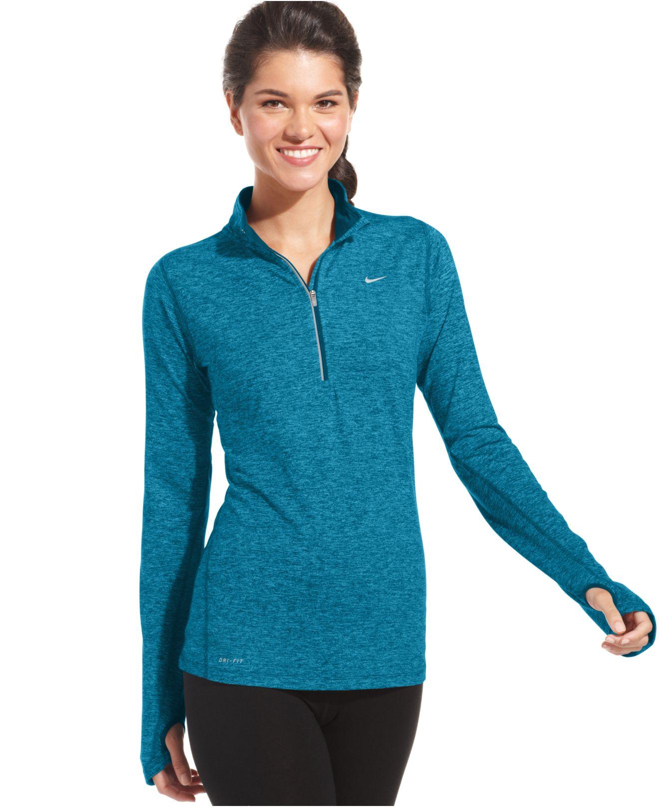 Nike Element Dri Fit Half Zip Pullover In Blue Lyst