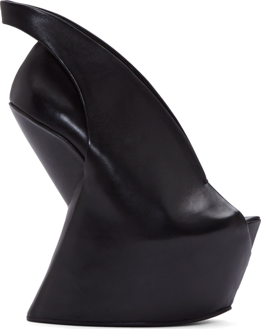 Iris van herpen Black Leather Sculptural United Nude Edition Wedge ...