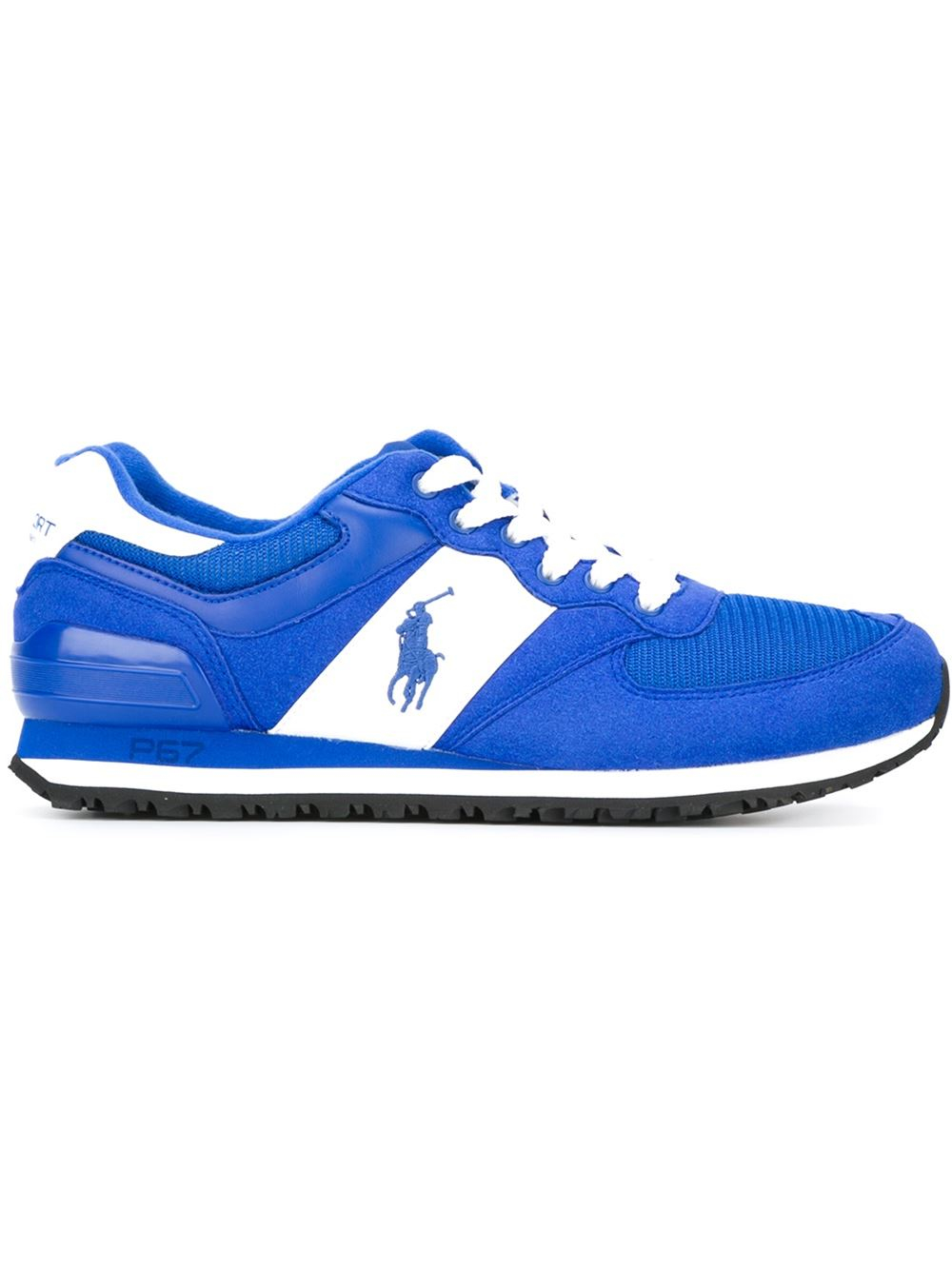 polo ralph lauren logo running sneakers in blue for men lyst. Black Bedroom Furniture Sets. Home Design Ideas