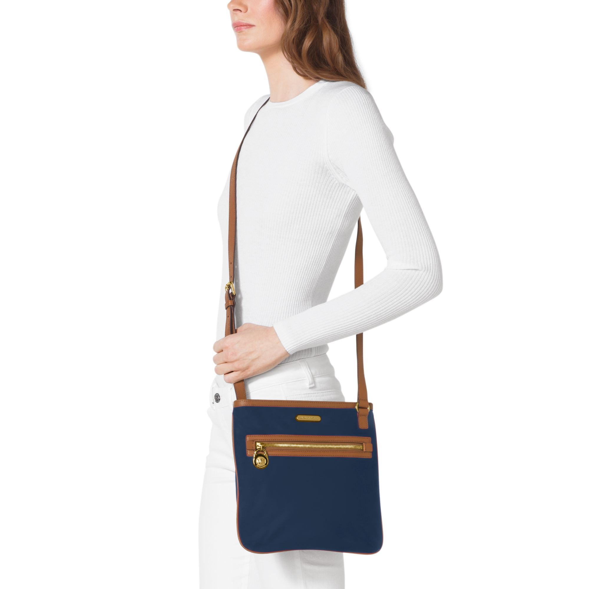 7b7128d0250d6c Michael Kors Kempton Leather-Trimmed Nylon Large Crossbody in Blue ...