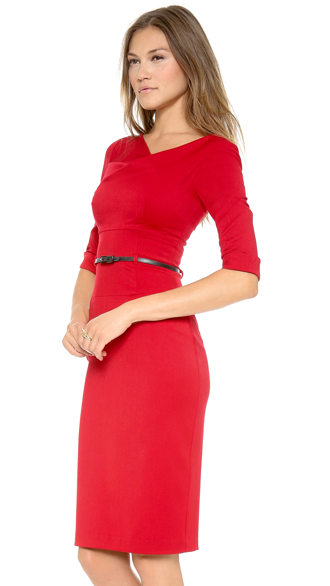 Black halo 3/4 Sleeve Jackie O Dress in Red | Lyst