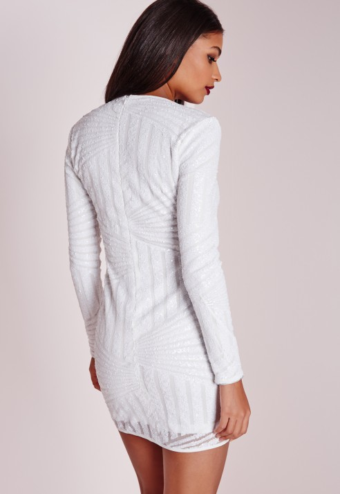 Missguided Long Sleeve Sequin Bodycon Dress White In White