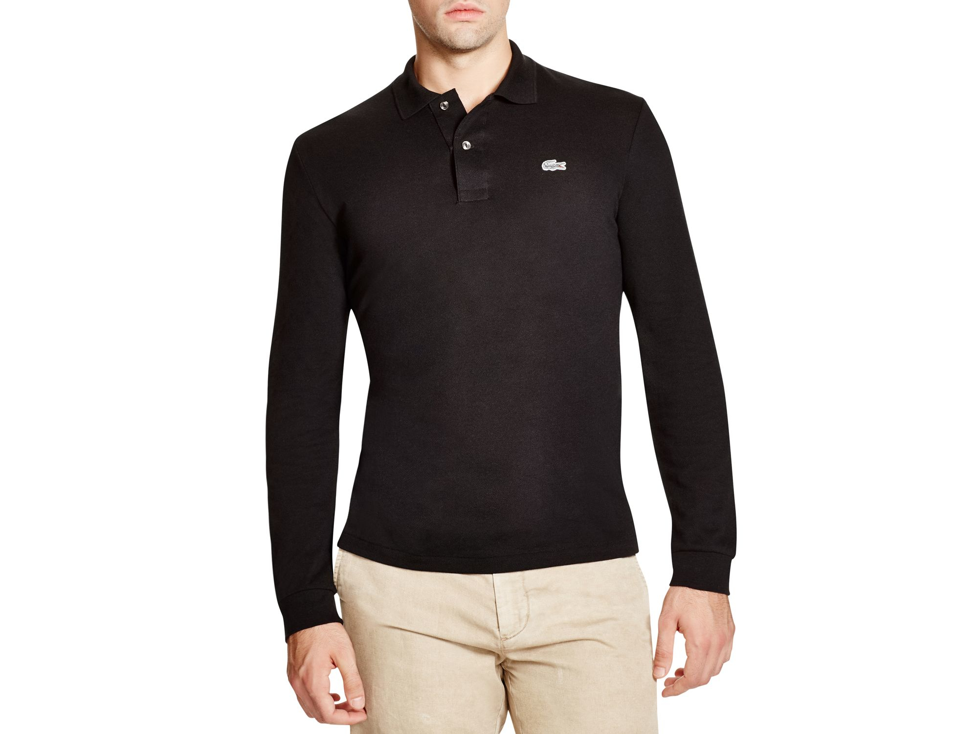 a9dc705b2fbc1 Lacoste Croc Stretch Long Sleeve Slim Fit Polo in Black for Men - Lyst