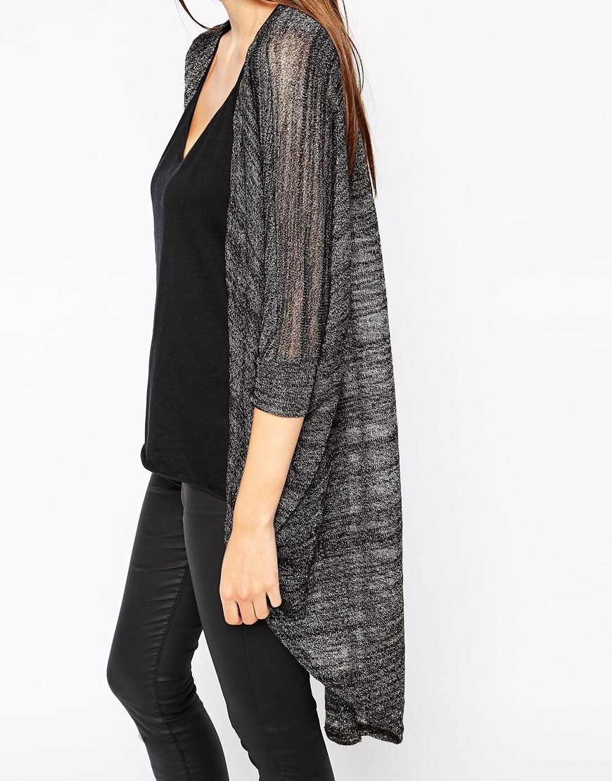 Ax paris Lightweight Longline Cardigan in Brown | Lyst