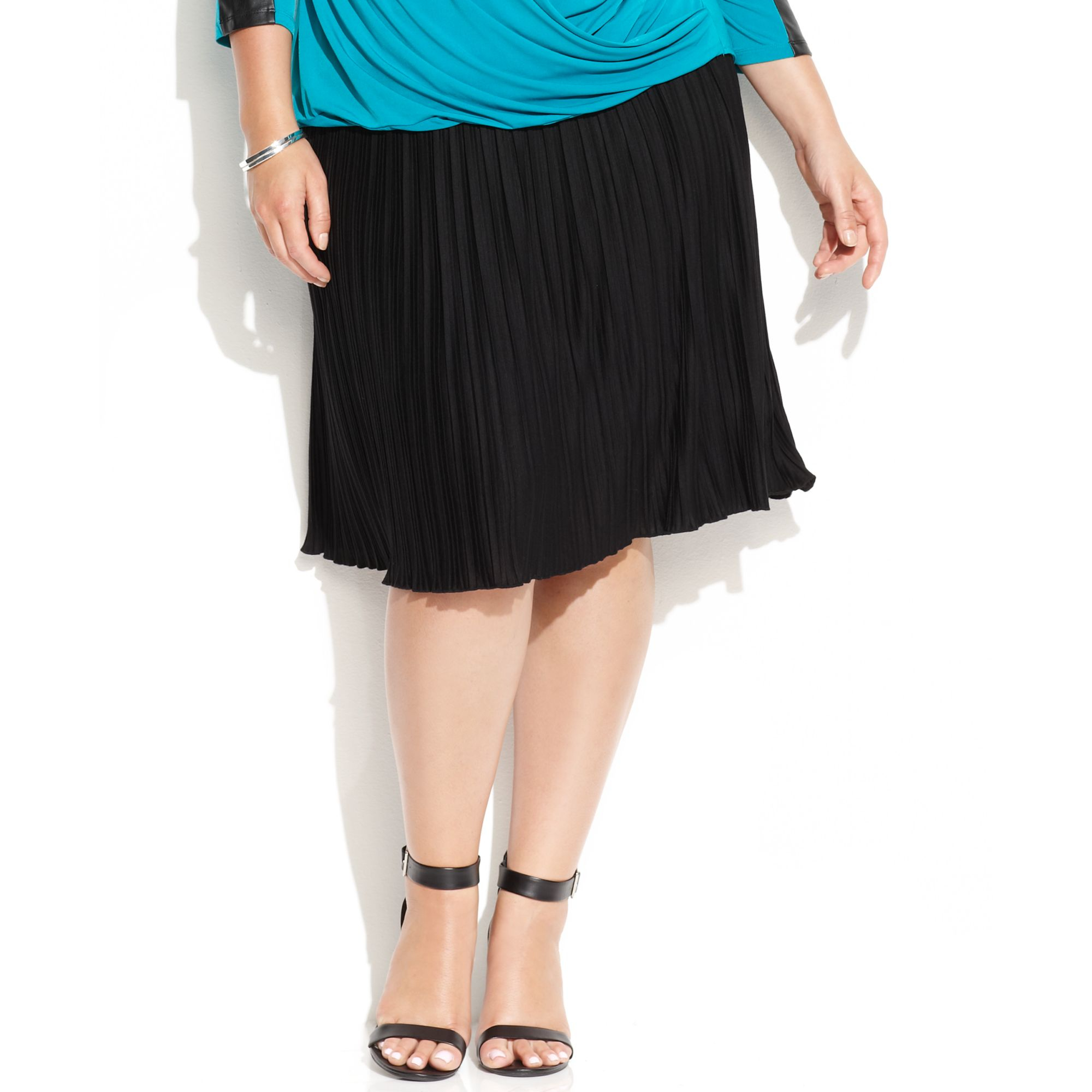 calvin klein plus size pleated a line skirt in black lyst