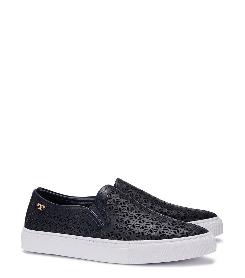Lyst - Tory burch Lennon Perforated Slip-on Sneaker in Blue