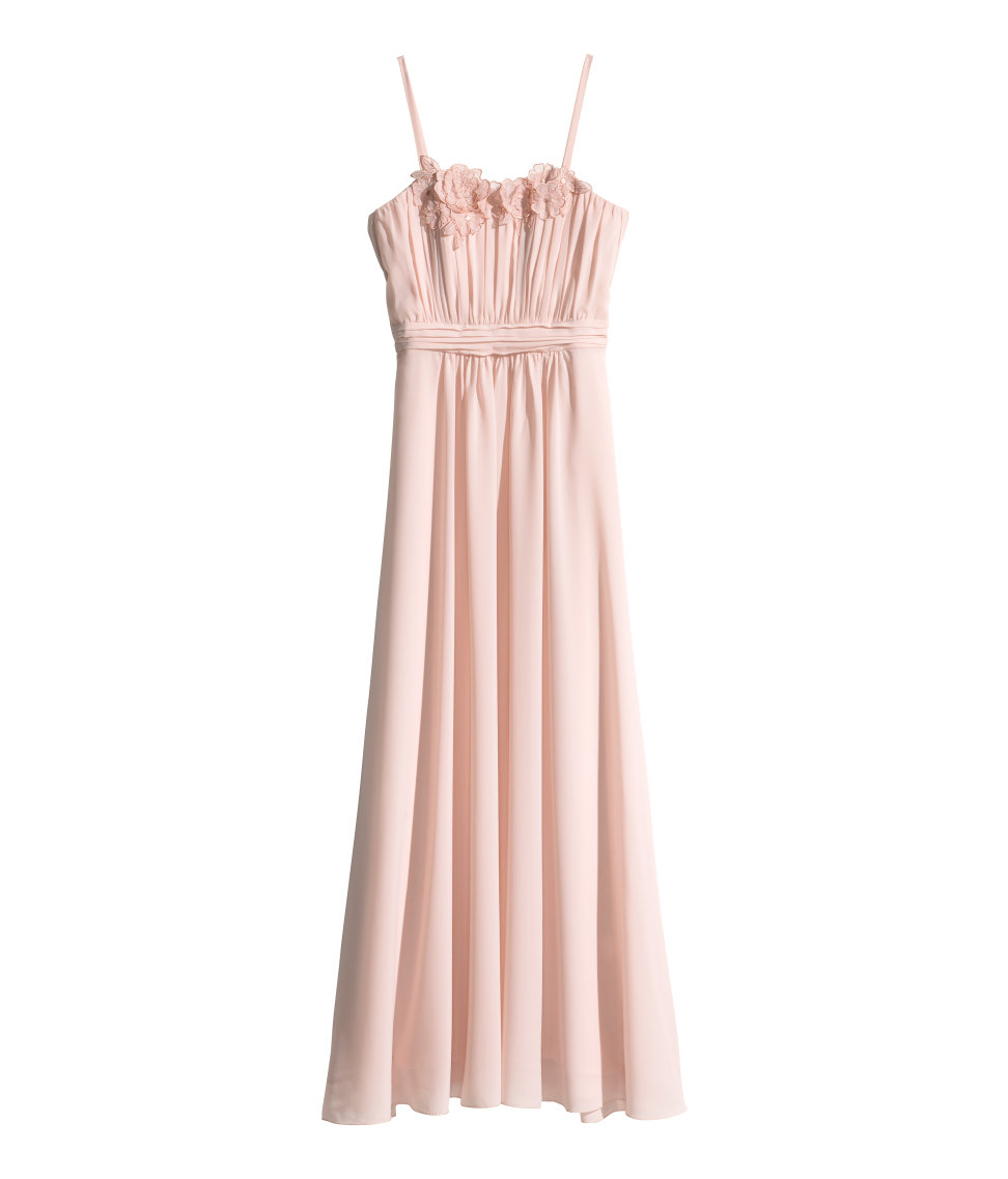Lyst - H&M Long Pleated Dress in Pink