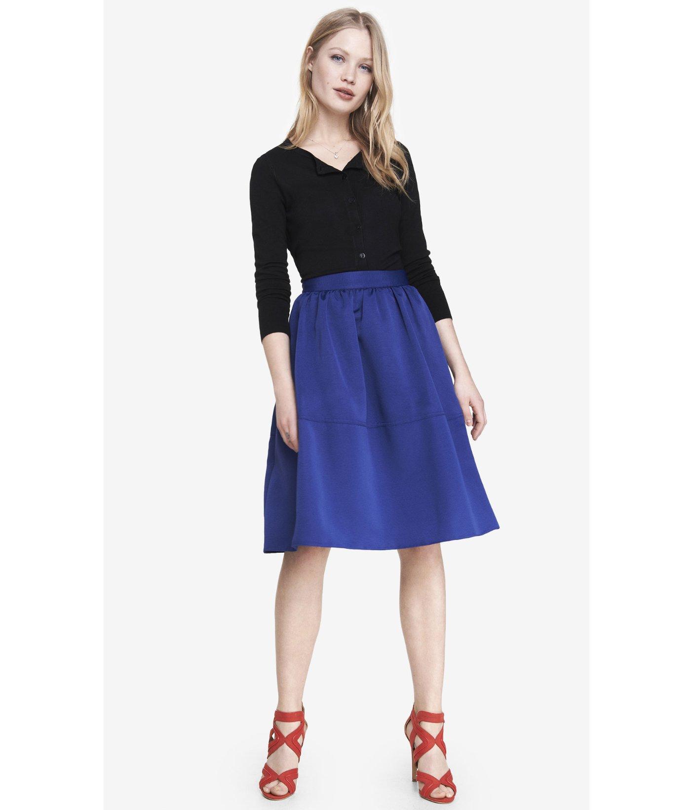 Express High Waist Full Midi Skirt in Blue   Lyst