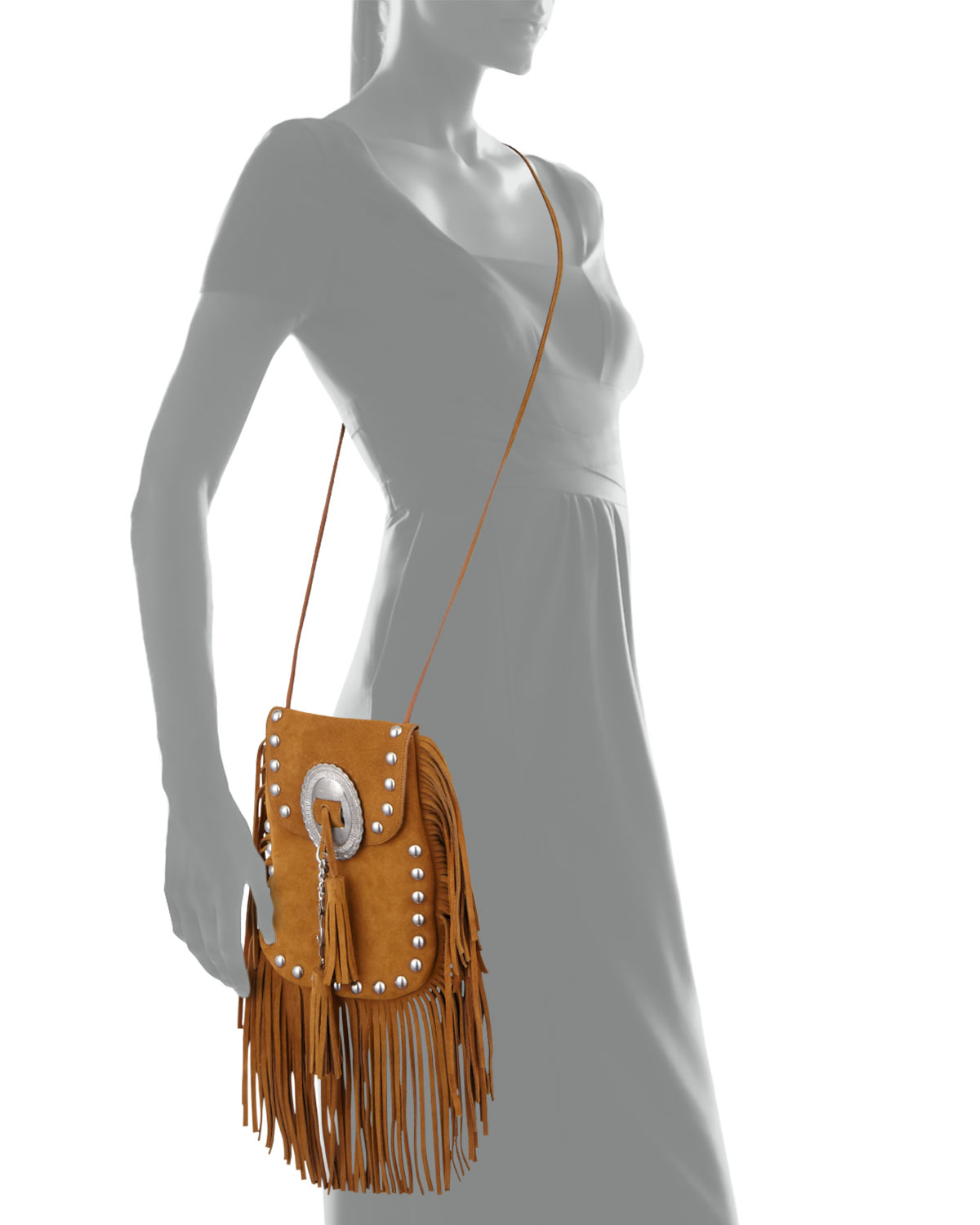 fbd1472584 Lyst - Saint Laurent Anita Small Suede Fringed Shoulder Bag in Brown