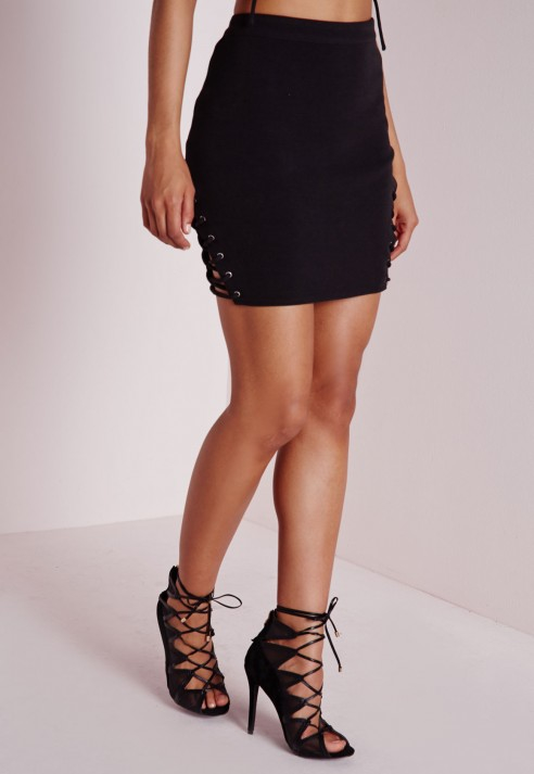 Missguided Lace Up Tie Detail Bodycon Mini Skirt Black in Black | Lyst