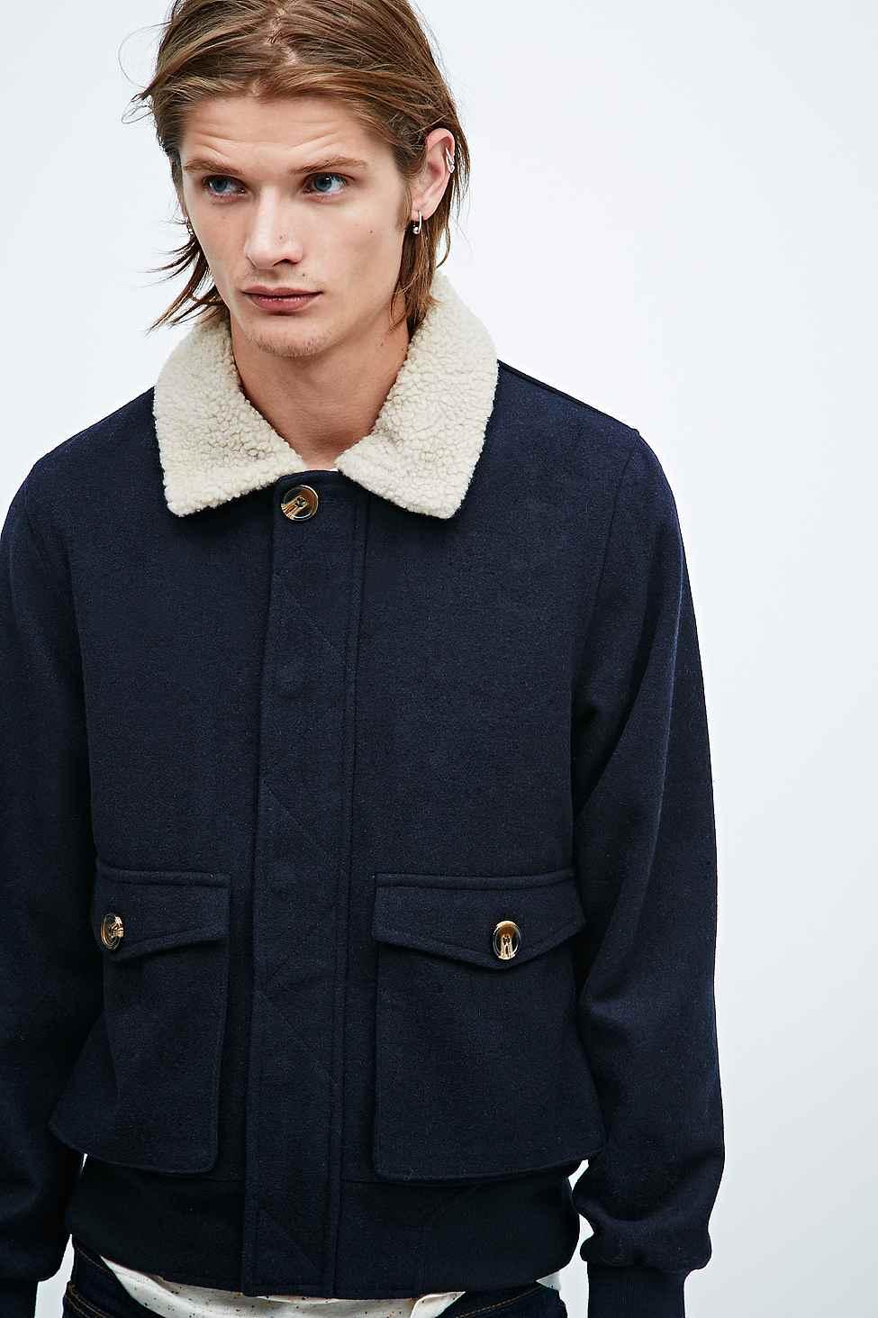Urban outfitters Reid Wool Flight Jacket In Navy in Blue for Men ...
