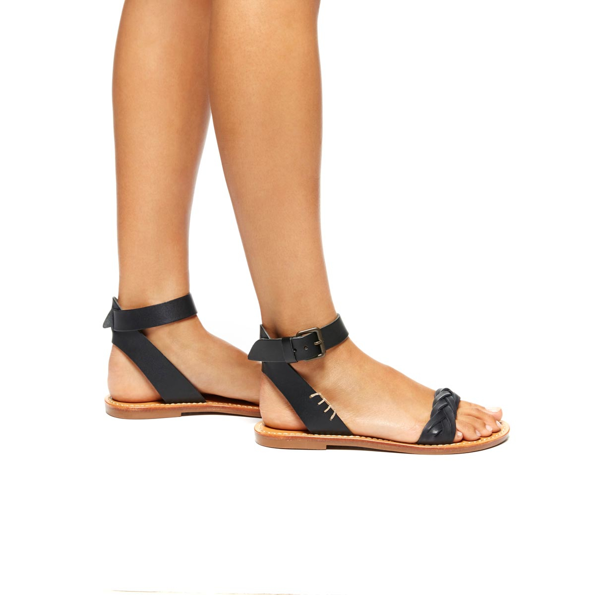 Lyst - Soludos Leather Braided Ankle Strap Sandal in Black