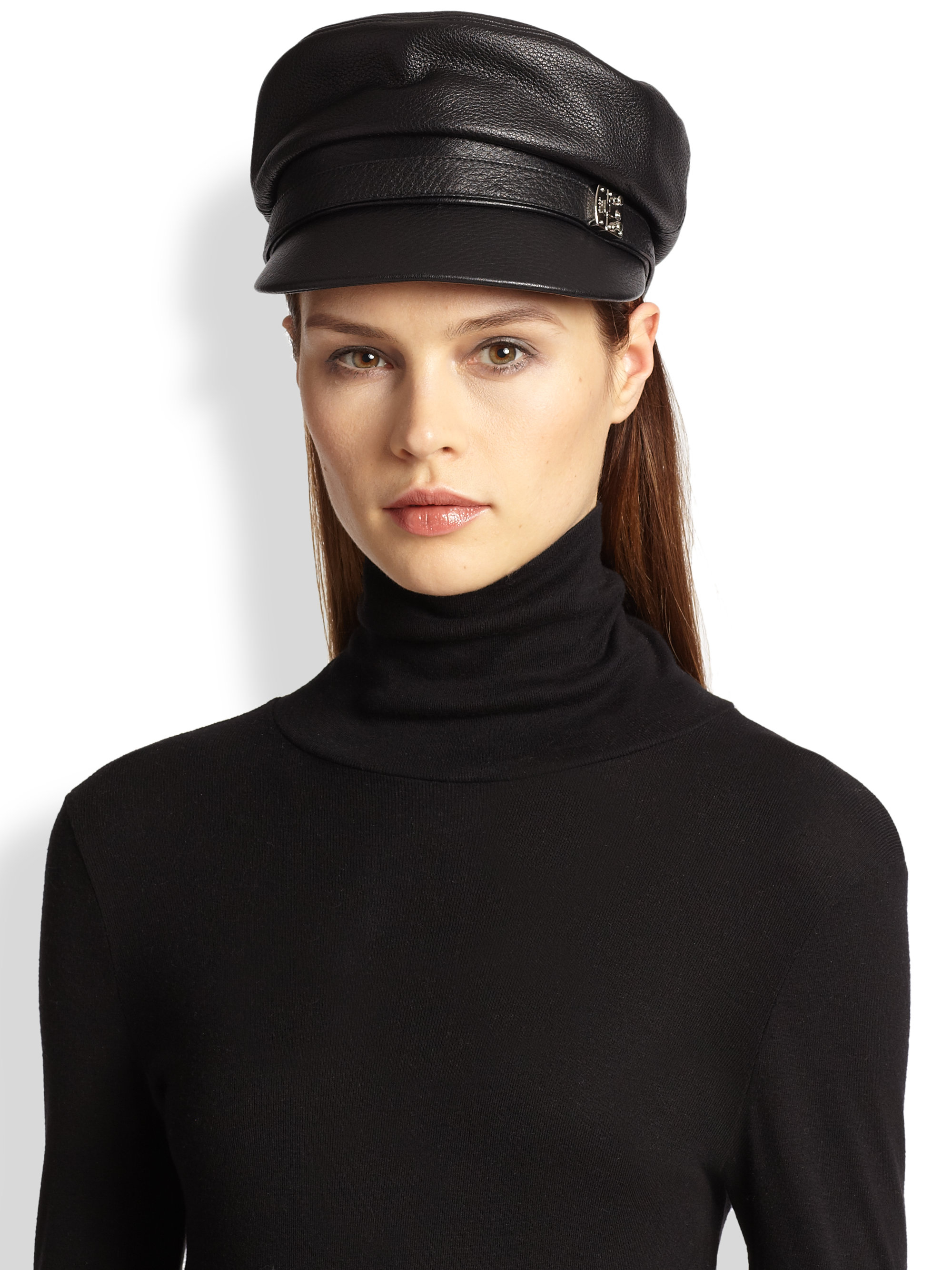 gucci leather conductor hat in black lyst