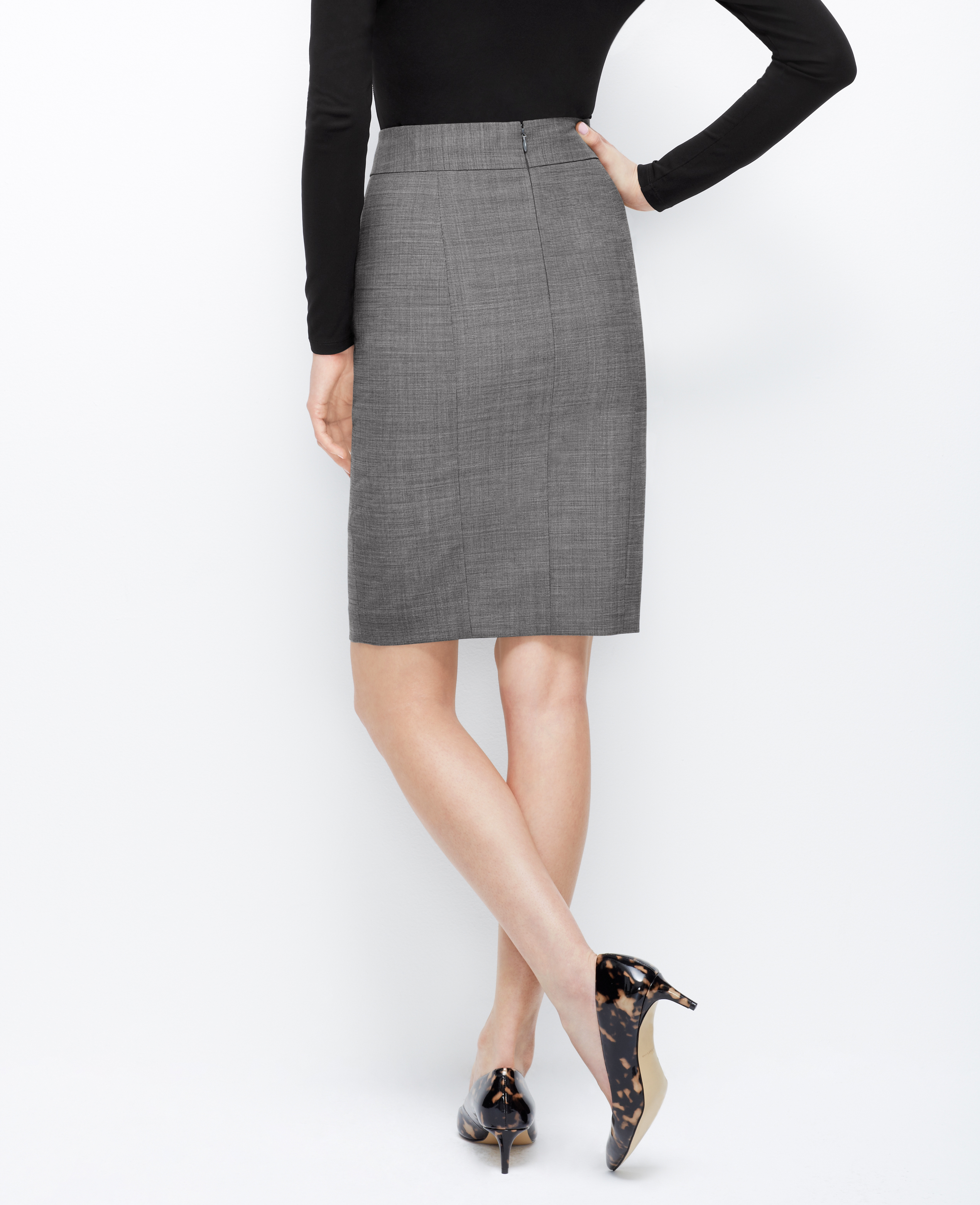 Ann taylor Wool Blend Pencil Skirt in Gray | Lyst