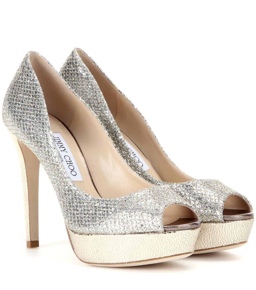 jimmy choo dahlia glitter peep toe pumps in metallic lyst rh lyst co uk