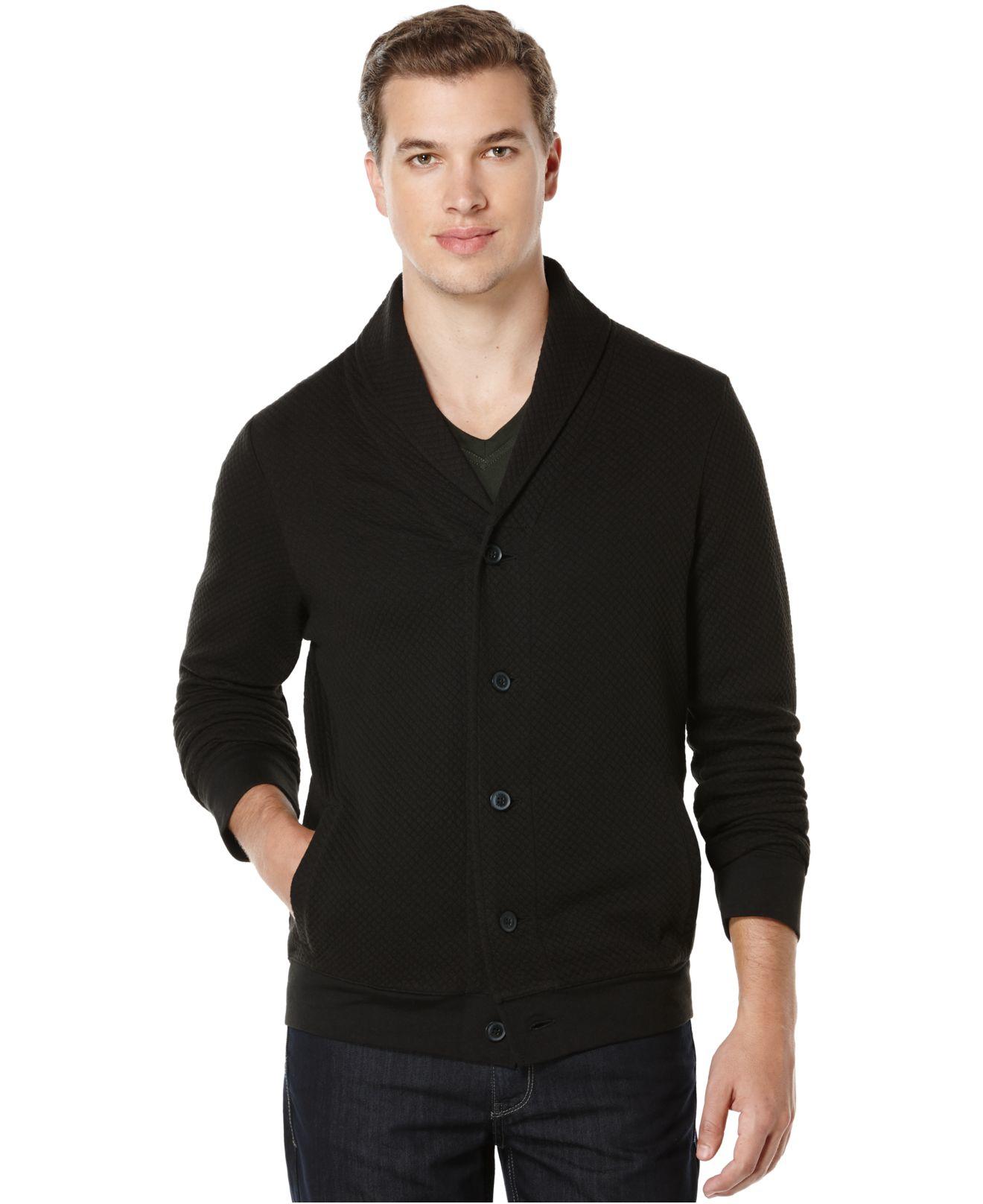 Perry ellis Big And Tall Shawl Collar Cardigan Sweater in Black ...