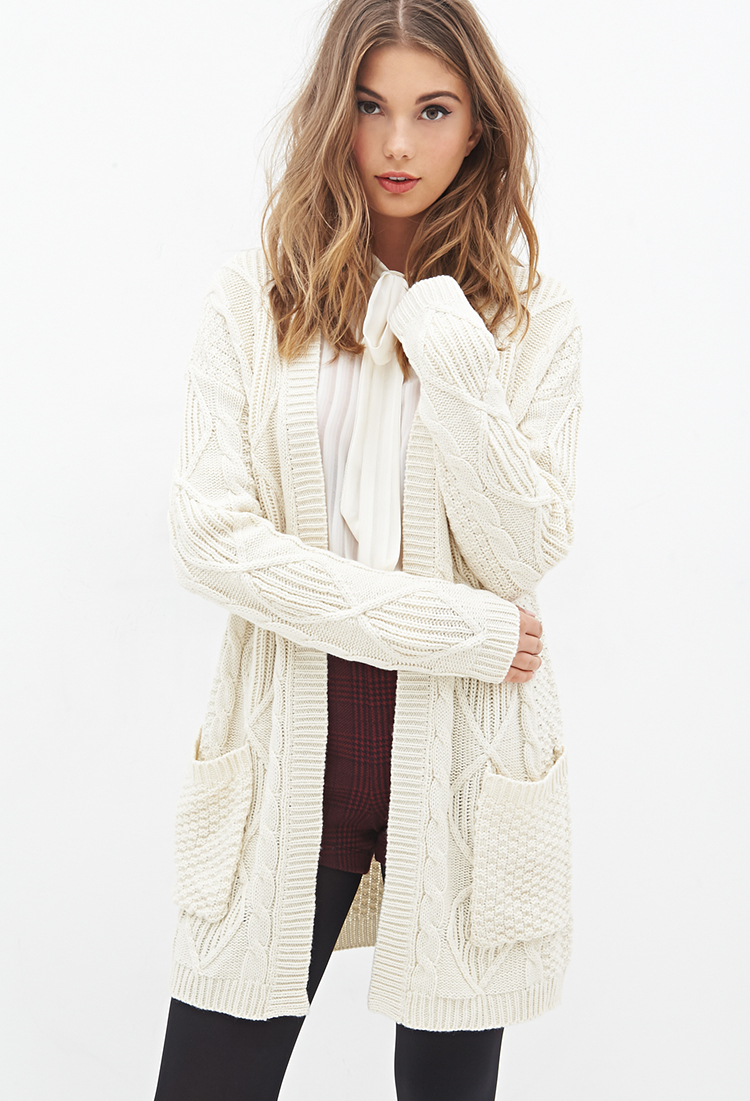 Forever 21 Longline Cable Knit Cardigan in Natural | Lyst