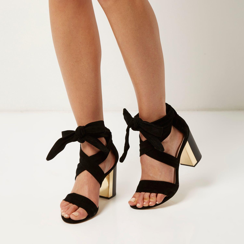 923fed99b7 River Island Black Suede Wrap Block Heel Sandals in Black - Lyst
