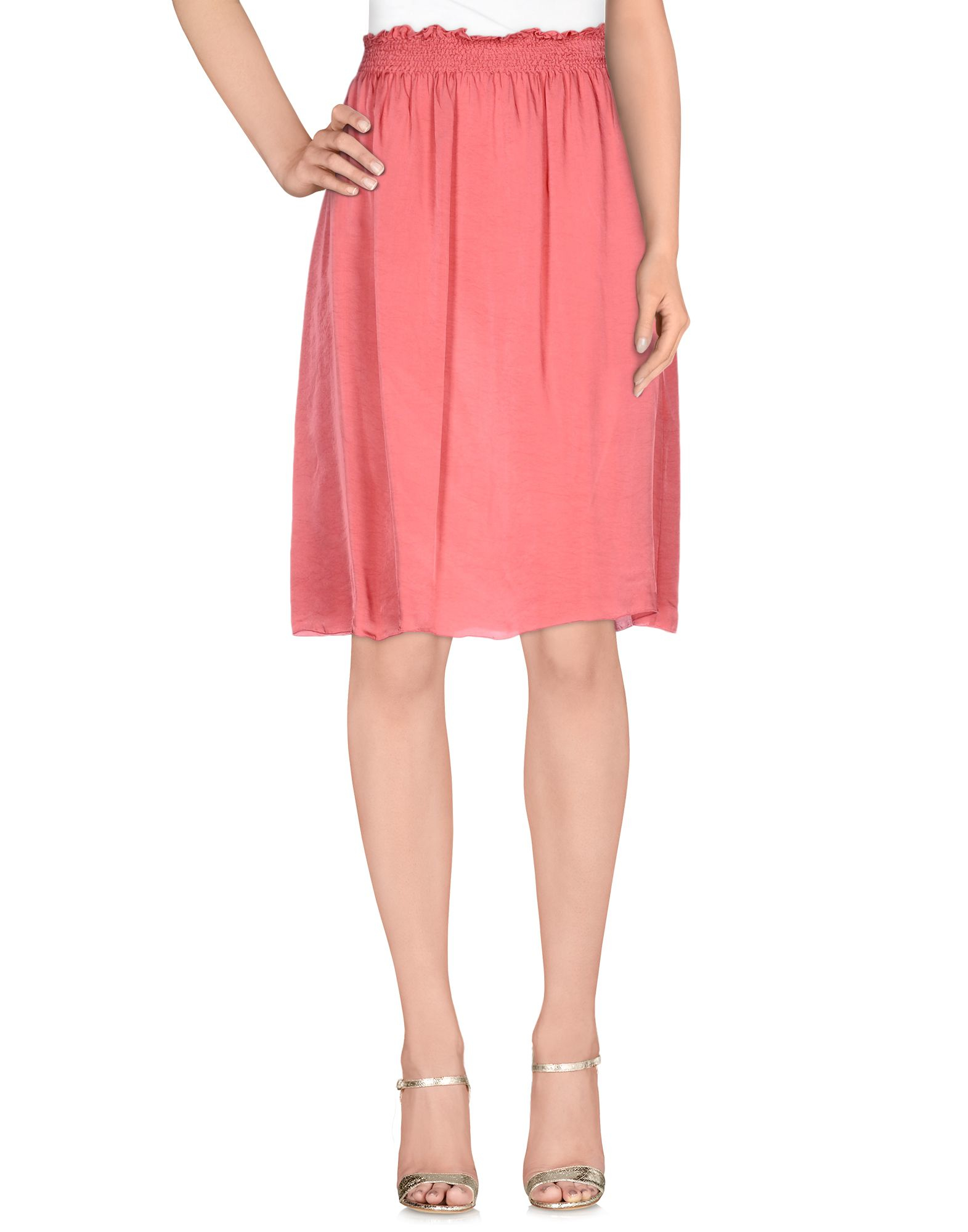 almeria knee length skirt in pink lyst