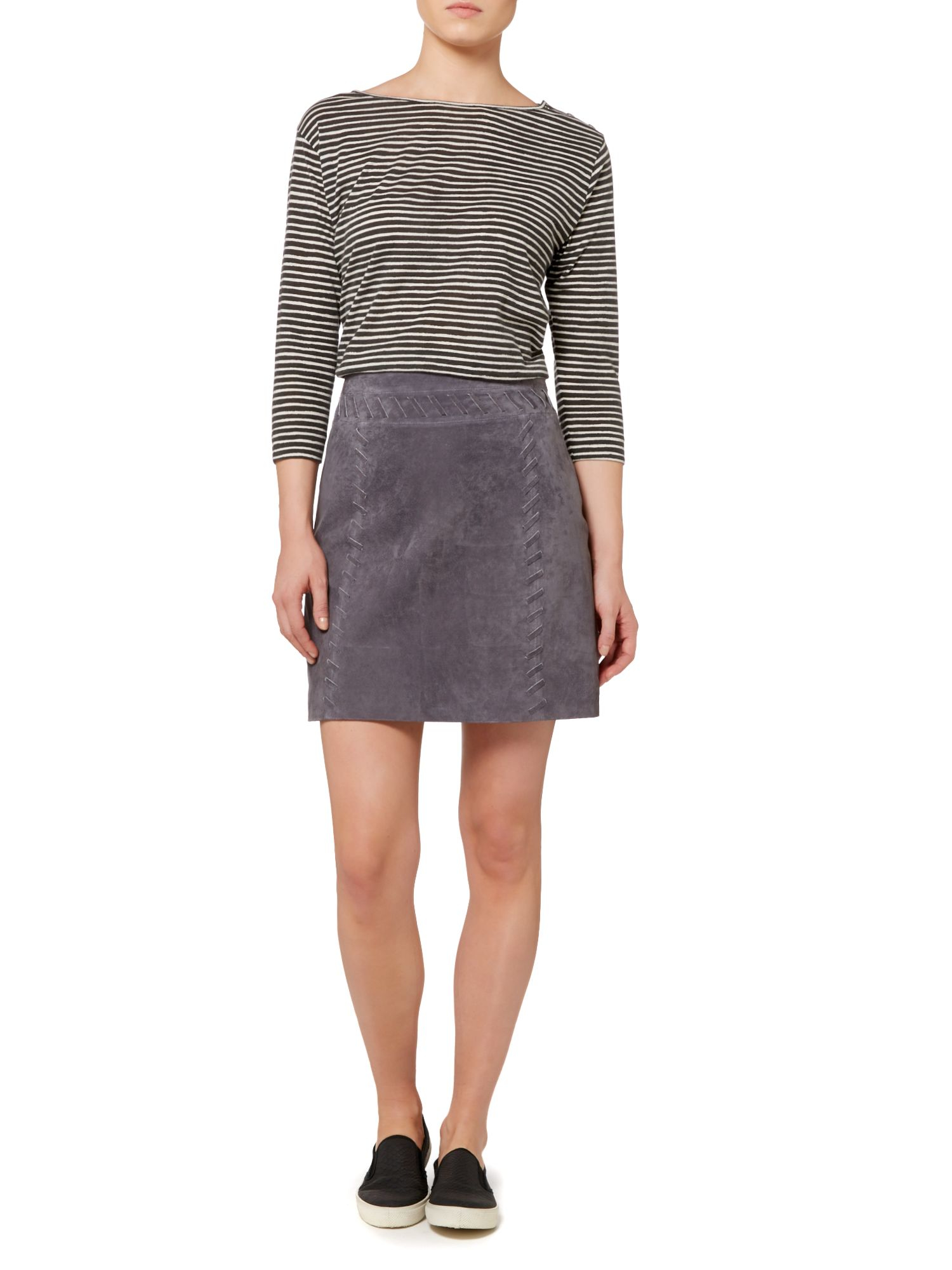 Linea weekend Whipstitch Suede Skirt in Gray | Lyst