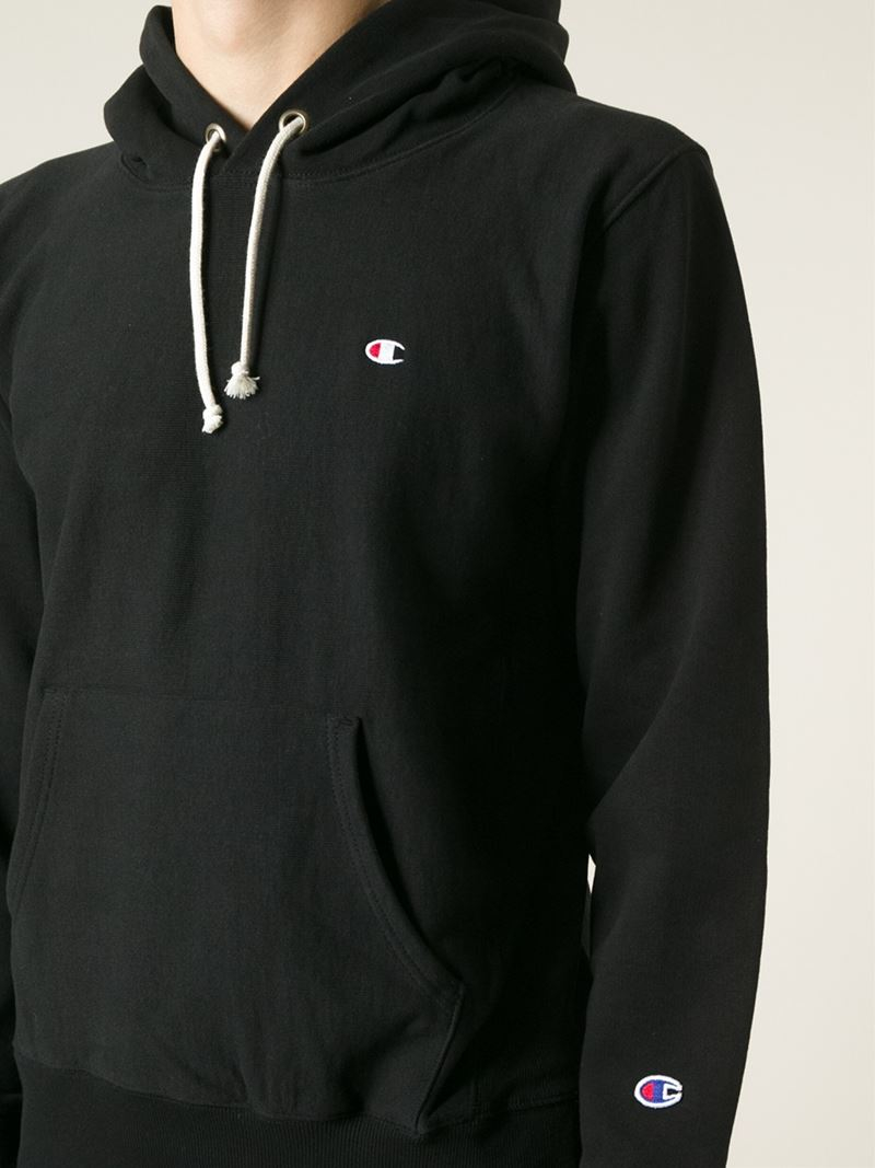 Champion Kangaroo Pocket Hoodie in Black for Men | Lyst