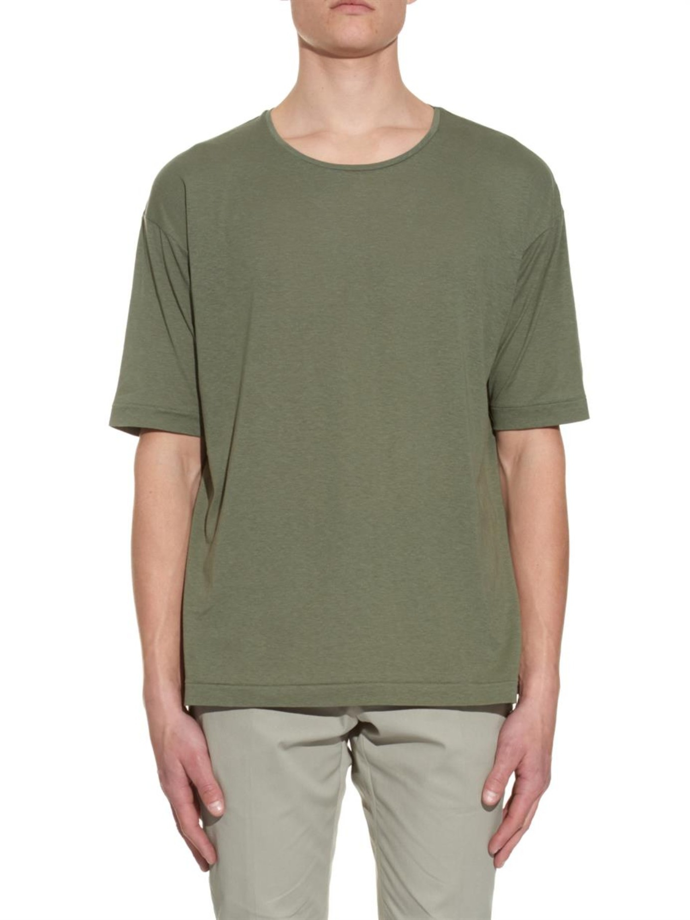lemaire cotton silk and linen blend t shirt in green for