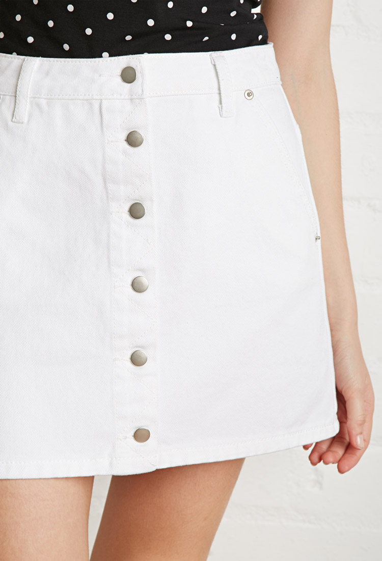 Forever 21 Button-front Denim Skirt in White | Lyst