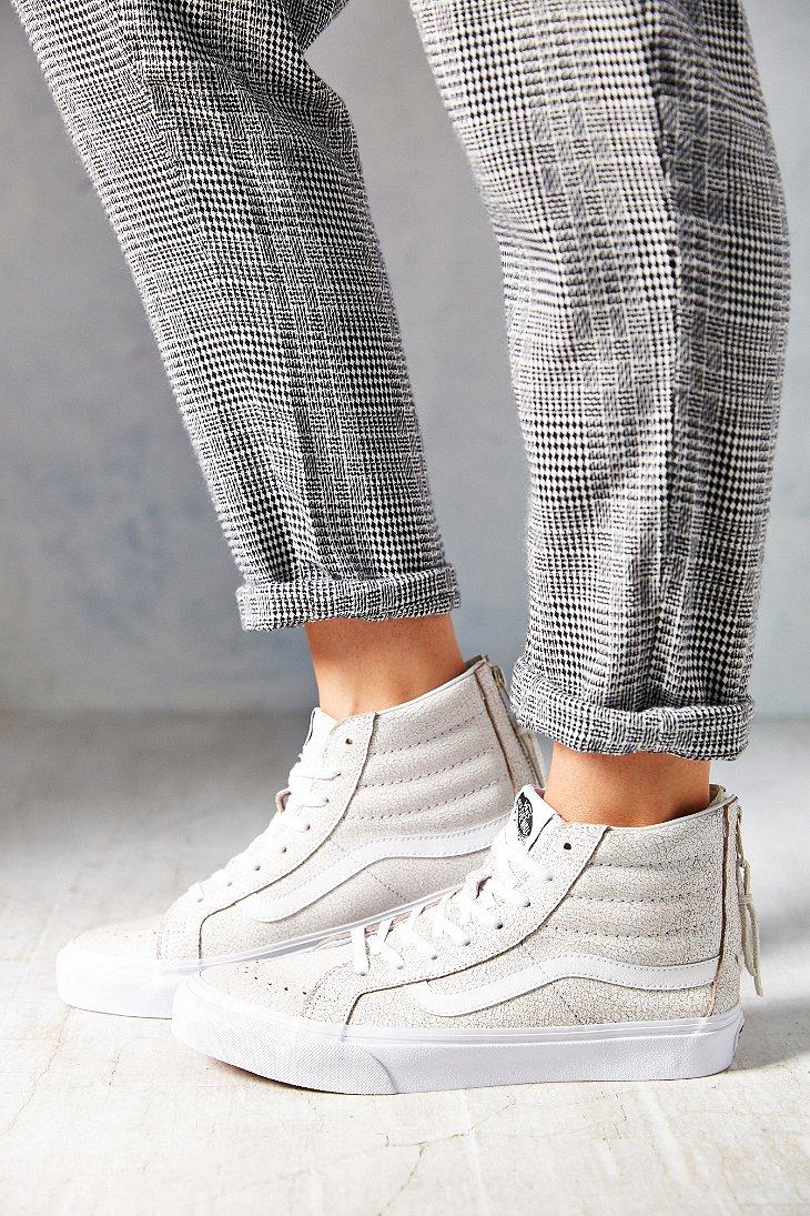 Lyst - Vans Sk8-Hi Crackle Suede Sneaker in White 8824454fd
